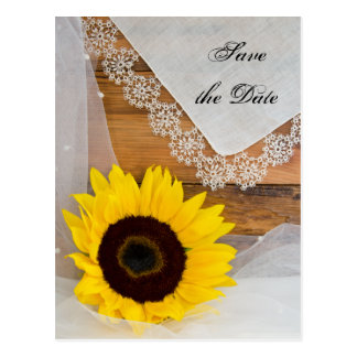 Yellow Sunflower and Lace Wedding Save the Date Postcard
