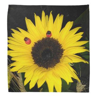 Yellow Sunflower And Two Ladybugs Bandana