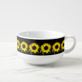 Yellow Sunflower And Two Ladybugs Soup Bowl With Handle