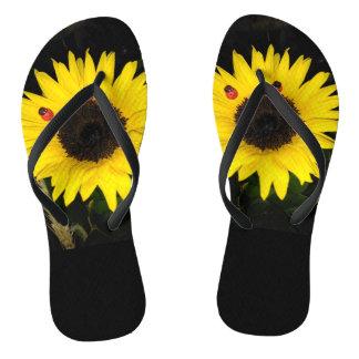 Yellow Sunflower And Two Ladybugs Thongs