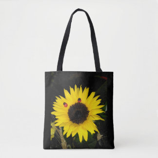 Yellow Sunflower And Two Ladybugs Tote Bag