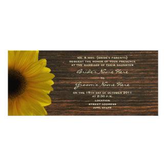 Yellow Sunflower Barnwood Fall Wedding Invite