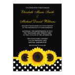Yellow Sunflower Black and White Polka Dot Wedding 13 Cm X 18 Cm Invitation Card