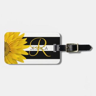 Yellow Sunflower Black & White Stripes Monogrammed Luggage Tag