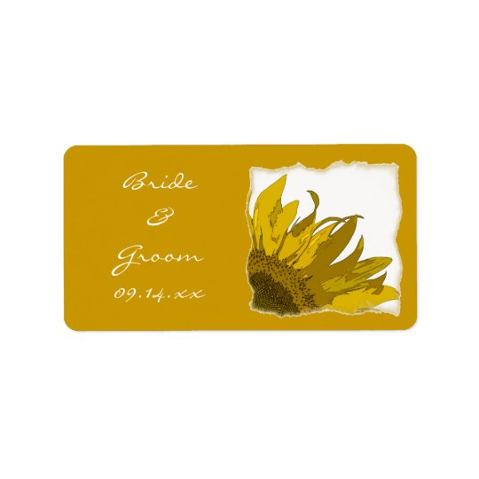 Yellow Sunflower Corner Wedding Label