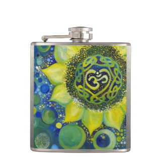Yellow Sunflower Crown Chakra Design Hip Flask