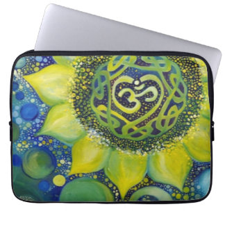 Yellow Sunflower Crown Chakra Design Laptop Sleeve