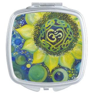 Yellow Sunflower Crown Chakra Design Makeup Mirror