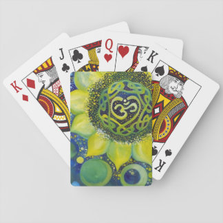 Yellow Sunflower Crown Chakra Design Playing Cards