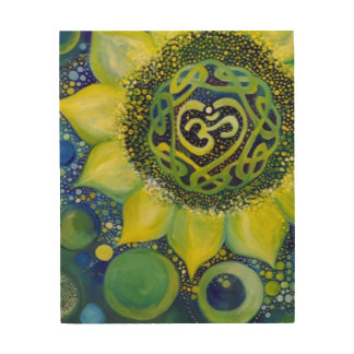 Yellow Sunflower Crown Chakra Design Wood Print