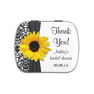 Yellow Sunflower Damask Floral Wedding Candy Tin