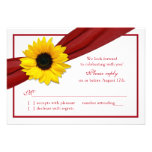 Yellow Sunflower Deep Red Ribbon Wedding RSVP Personalized Invitations
