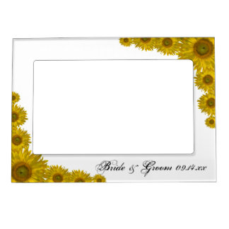 Yellow Sunflower Edge Wedding Magnetic Frame