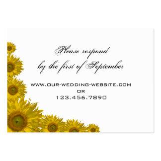 Yellow Sunflower Edge Wedding Response Card Business Card