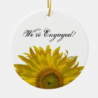 Yellow Sunflower Engagement Ceramic Ornament