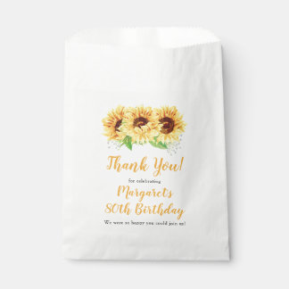 Yellow Sunflower Floral 80th Birthday Thank You Favour Bag