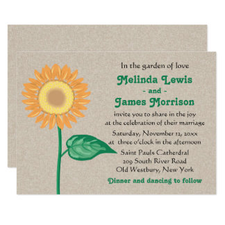Yellow Sunflower Floral Rustic Tan Wedding Card