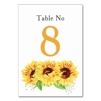 Yellow Sunflower Floral Wedding Table Card