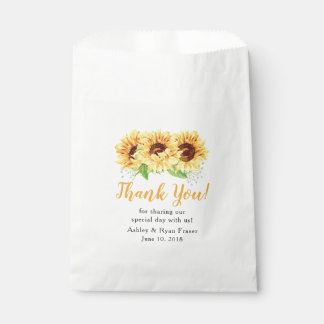 Yellow Sunflower Floral Wedding Thank You Favour Bag