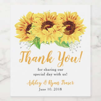 Yellow Sunflower Floral Wedding Thank You Wine Label