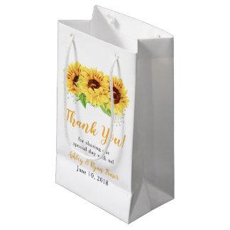 Yellow Sunflower Floral Wedding Welcome Small Gift Bag