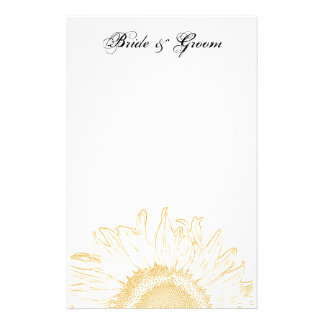 Yellow Sunflower Graphic Wedding Customised Stationery
