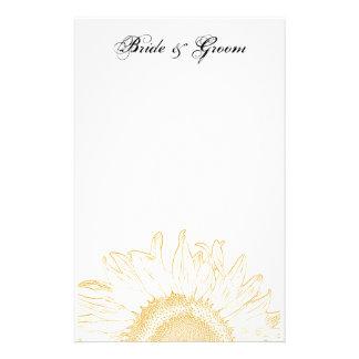 Yellow Sunflower Graphic Wedding Customised Stationery