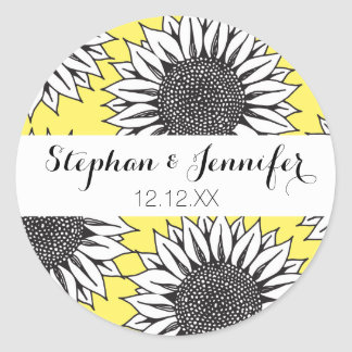 Yellow Sunflower in Black and White Hand Drawing Classic Round Sticker