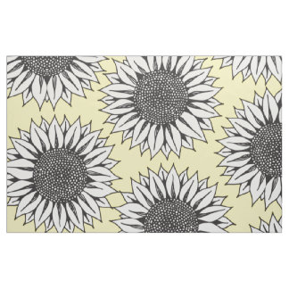 Yellow Sunflower in Black and White Hand Drawing Fabric