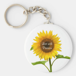 Yellow Sunflower Live with Passion Flower Keychain