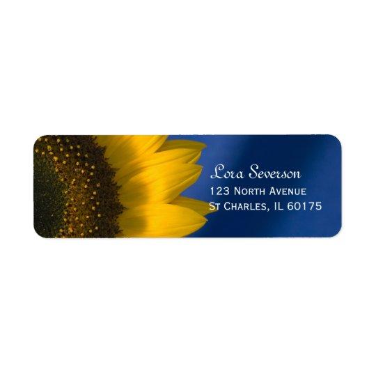 Yellow Sunflower on Blue Return Address Return Address Label
