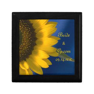 Yellow Sunflower on Blue Wedding Gift Box