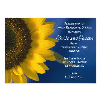 Yellow Sunflower on Blue Wedding Rehearsal Dinner 13 Cm X 18 Cm Invitation Card