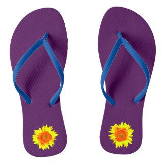 Yellow Sunflower on Dark Purple Thongs