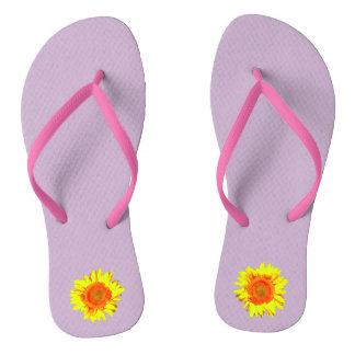 Yellow Sunflower on Lavender Thongs