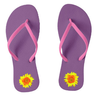 Yellow Sunflower on Middle Purple Thongs