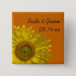 Yellow Sunflower on Orange Wedding 15 Cm Square Badge