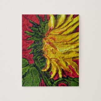 Yellow Sunflower on Red Jigsaw Puzzle
