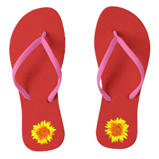 Yellow Sunflower on Red Thongs