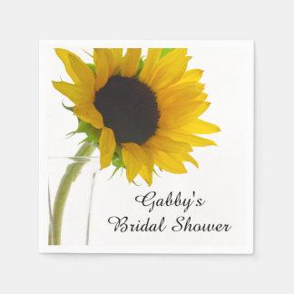 Yellow Sunflower on White Bridal Shower Disposable Napkin