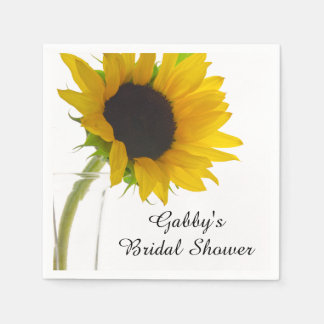 Yellow Sunflower on White Bridal Shower Paper Napkin
