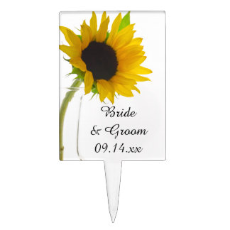 Yellow Sunflower on White Wedding Cake Toppers