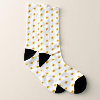 Yellow Sunflower on Women's White Socks