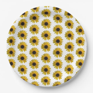 Yellow Sunflower Pattern Paper Plate