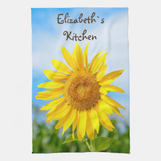 Yellow Sunflower Personalised Name Tea Towels