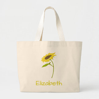 Yellow Sunflower Personalize your own Large Tote Bag