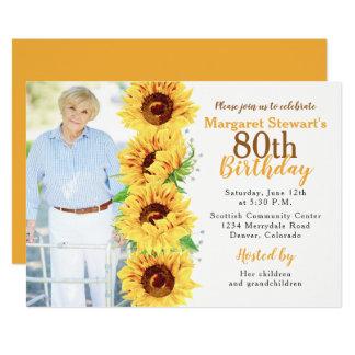 Yellow Sunflower Photo 80th Birthday Card