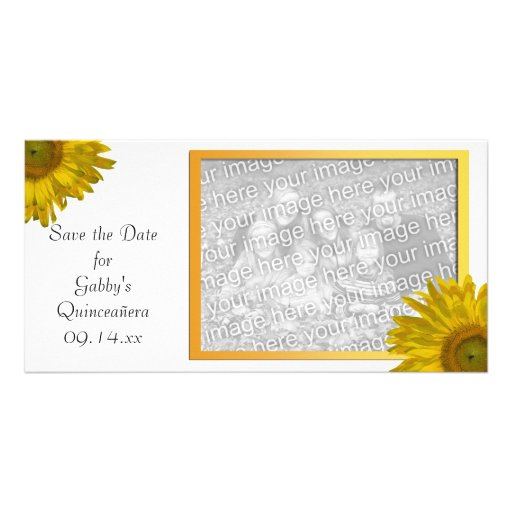 Yellow Sunflower Quinceanera Save the Date Photo Card