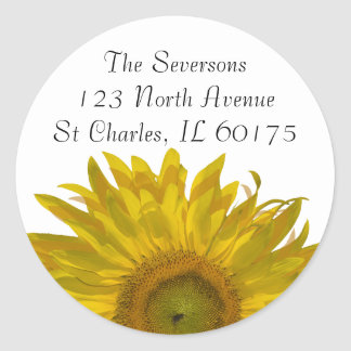 Yellow Sunflower Return Address Classic Round Sticker