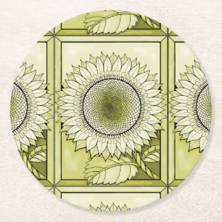Yellow Sunflower Round Paper Coaster